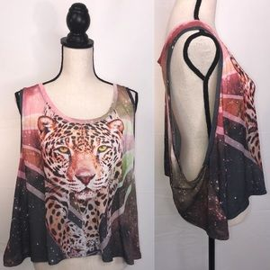 FOREVER 21 Leopard Oversized Cropped Tank Top